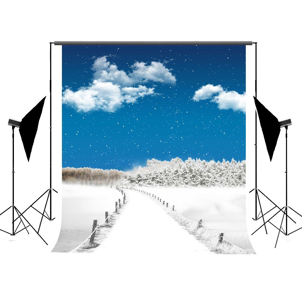 MOHome Polyster 5x7ft Photo Backdrop for Photography Blue Sky White Cloud Christmas Background for Photographers