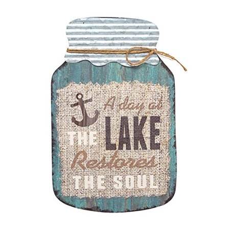 (Barnyard Designs A Day at the Lake Restores the Soul Mason Jar Decorative Wood and Metal Wall Sign Vintage Lake House Decor 14