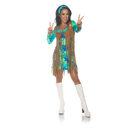 60S Retro Womens Adult Groovy Hippie Chick Halloween Costume