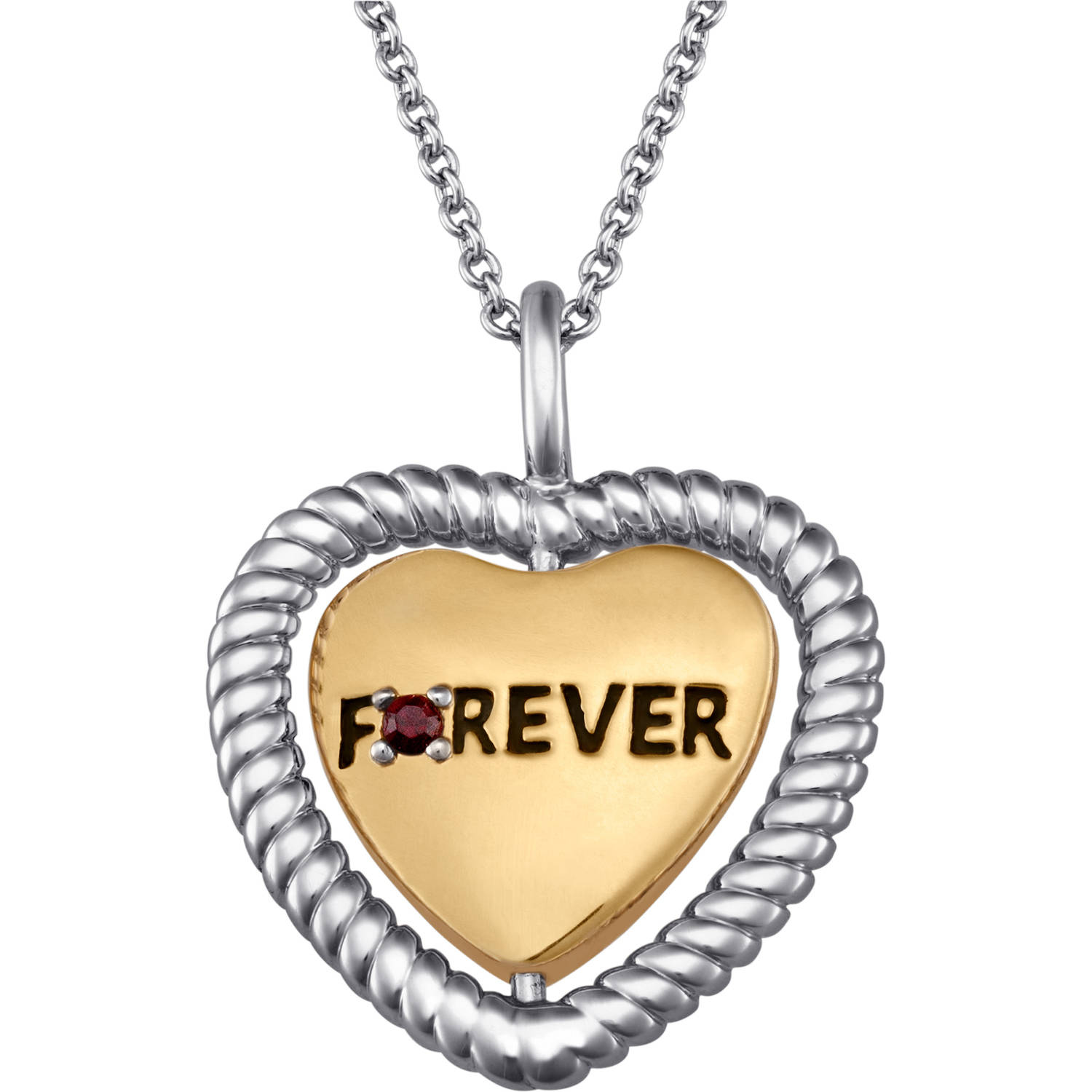 """Personalized Birthstone Two-Tone Forever In My Heart Swivel Pendant, 18"""" with 2"""" Extender"""
