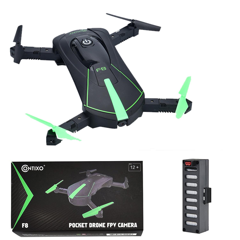Contixo F8 Foldable Pocket Selfie Drone With Voice Controls, Altitude Hold, Wifi FPV Camera, Path Control (Green)
