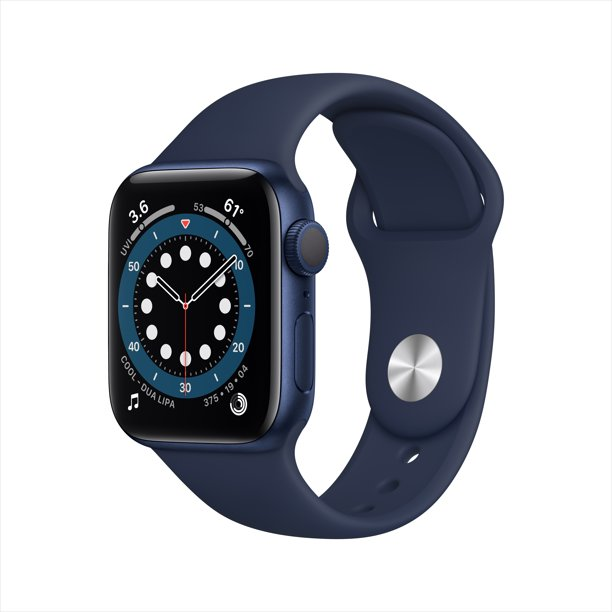 Apple Watch Series 6 GPS, 40mm Blue Aluminum Case with Deep Navy Sport Band - Regular