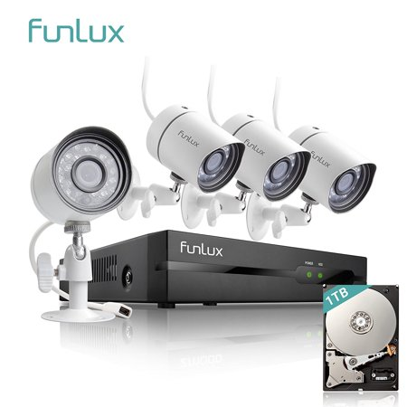 Funlux 4 Channel 1080p HDMI NVR Simplified PoE 4 720p HD Outdoor Indoor Security Camera System 1TB Hard
