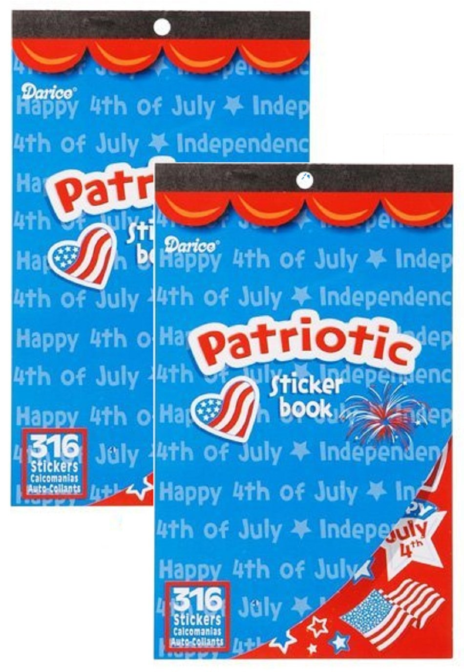 Memorial Day ARTS /& Crafts 2 Books of PATRIOTIC USA Mini Stickers 632 total 4th of JULY