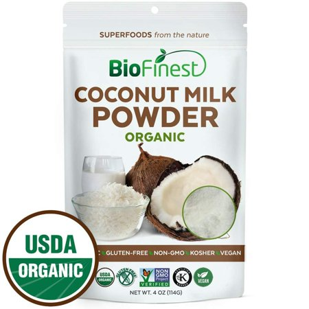Biofinest Coconut Milk Powder -100% Pure Antioxidants Superfood - USDA Certified Organic Kosher Vegan Raw Non-GMO - Boost Digestion Detox Weight Loss - For Smoothie Beverage (4 oz Resealable