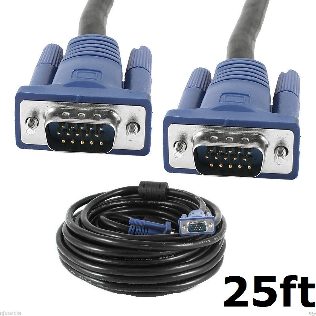 CableVantage HD15 15Pin 8M VGA Male to Male VGA Video 25FT Cable For TV Computer Monitor Blue For PC TV Computer Monitor Extension VGA Cable