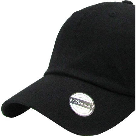 Washed Solid Cotton Dad Hat Adjustable Baseball Cap Polo Style