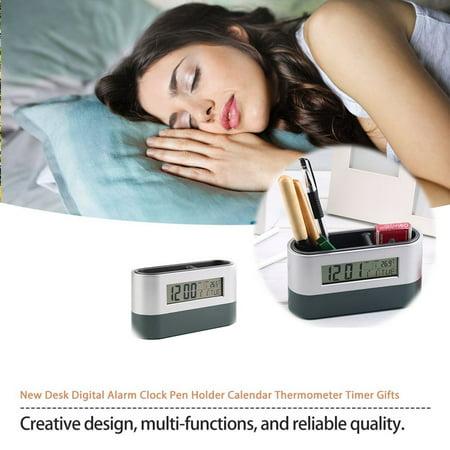 New Desk Digital Alarm Clock Pen Holder Calendar Thermometer Timer Gifts - image 3 de 8