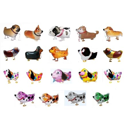 My Balloon Store  Tm Set Of 15 Assorted Dog Walking Balloons Air Walker Animal Pets Helium Party Decor Fun