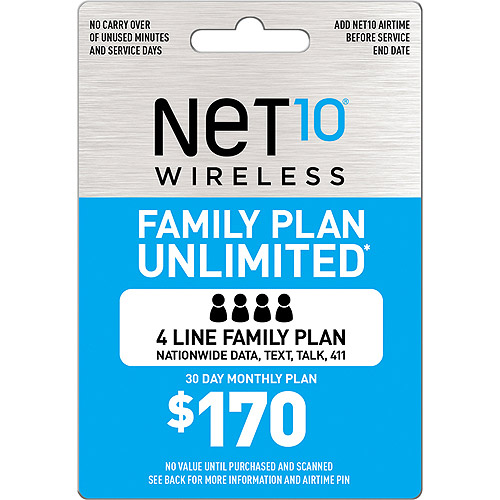 (Email Delivery) Net10 Family Plan 4 Unlimited $170
