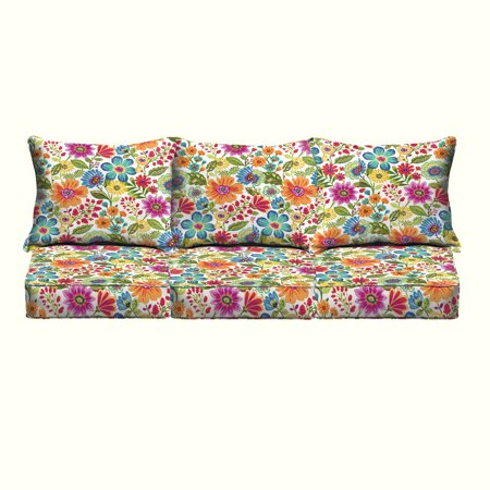 Humble and Haute Galliford Multi Floral Indoor/ Outdoor Corded Pillow and Cushion 6-pc Sofa Set ()
