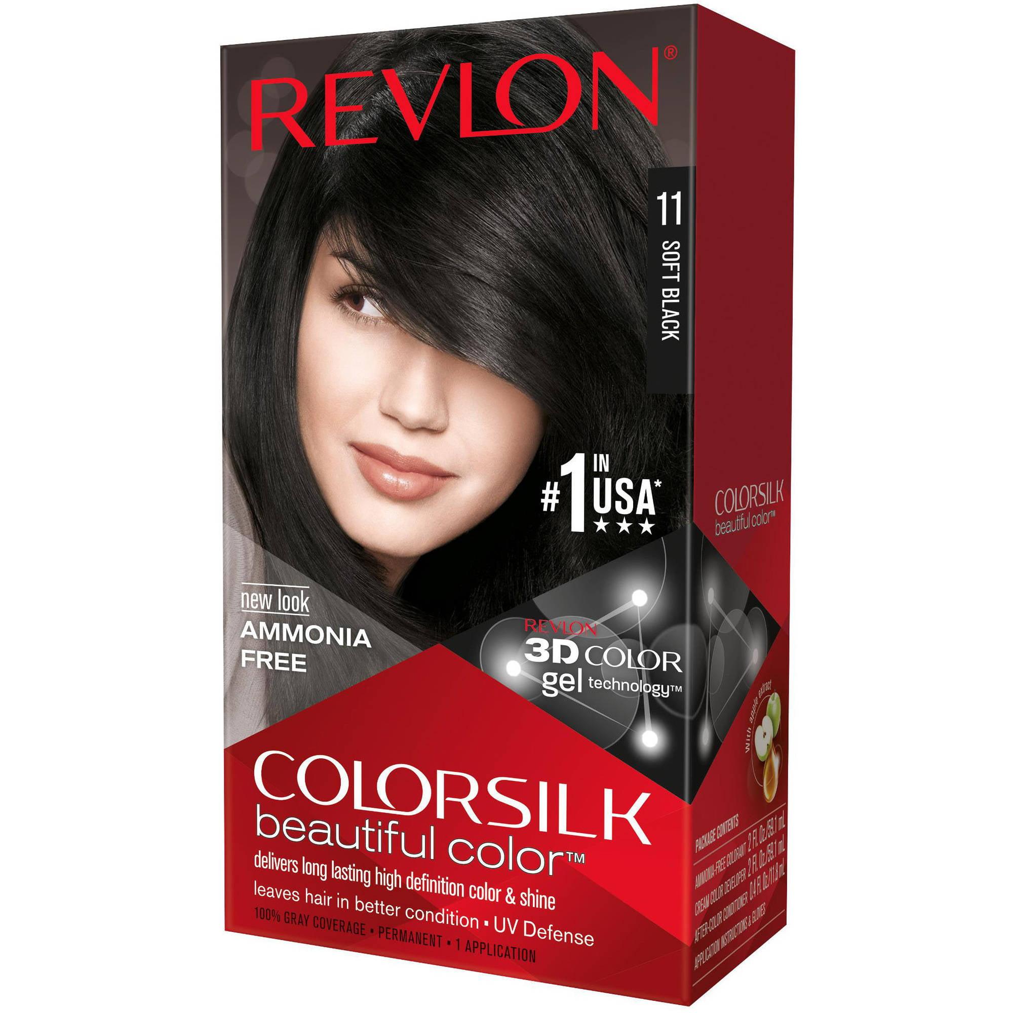 Revlon Colorsilk Beautiful Color Permanent Hair Color, 11 Soft Black