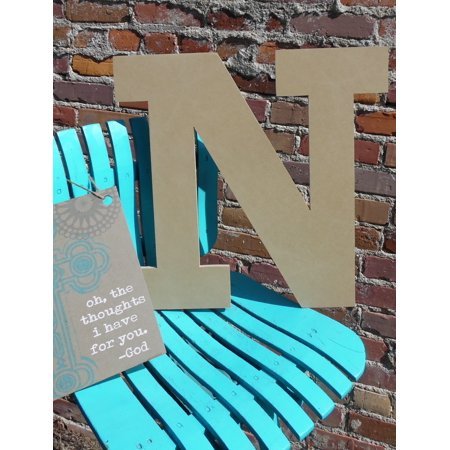 Wood Letter, Block Wooden Letter N 18'', Unfinished Wall (Hanging Wood Letters)