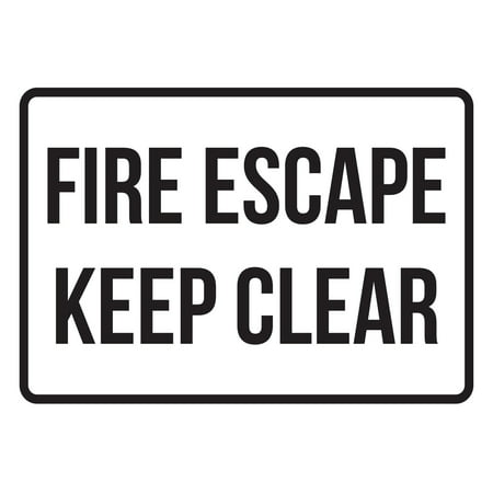 - Fire Escape Keep Clear No Parking Business Safety Traffic Signs Black - 7.5x10.5