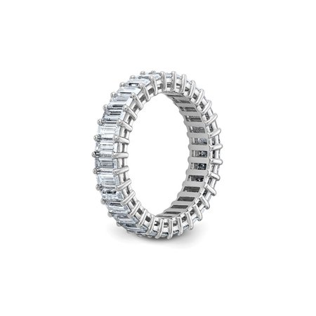 3.40 Carat (ctw) (3.70 Ct. Look) Synthetic Moissanite Eternity Wedding Band Ring in 14K White Gold - image 3 of 6