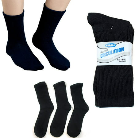 3 Pairs Diabetic Crew Circulation Socks Health Support Mens Loose Fit 10-13