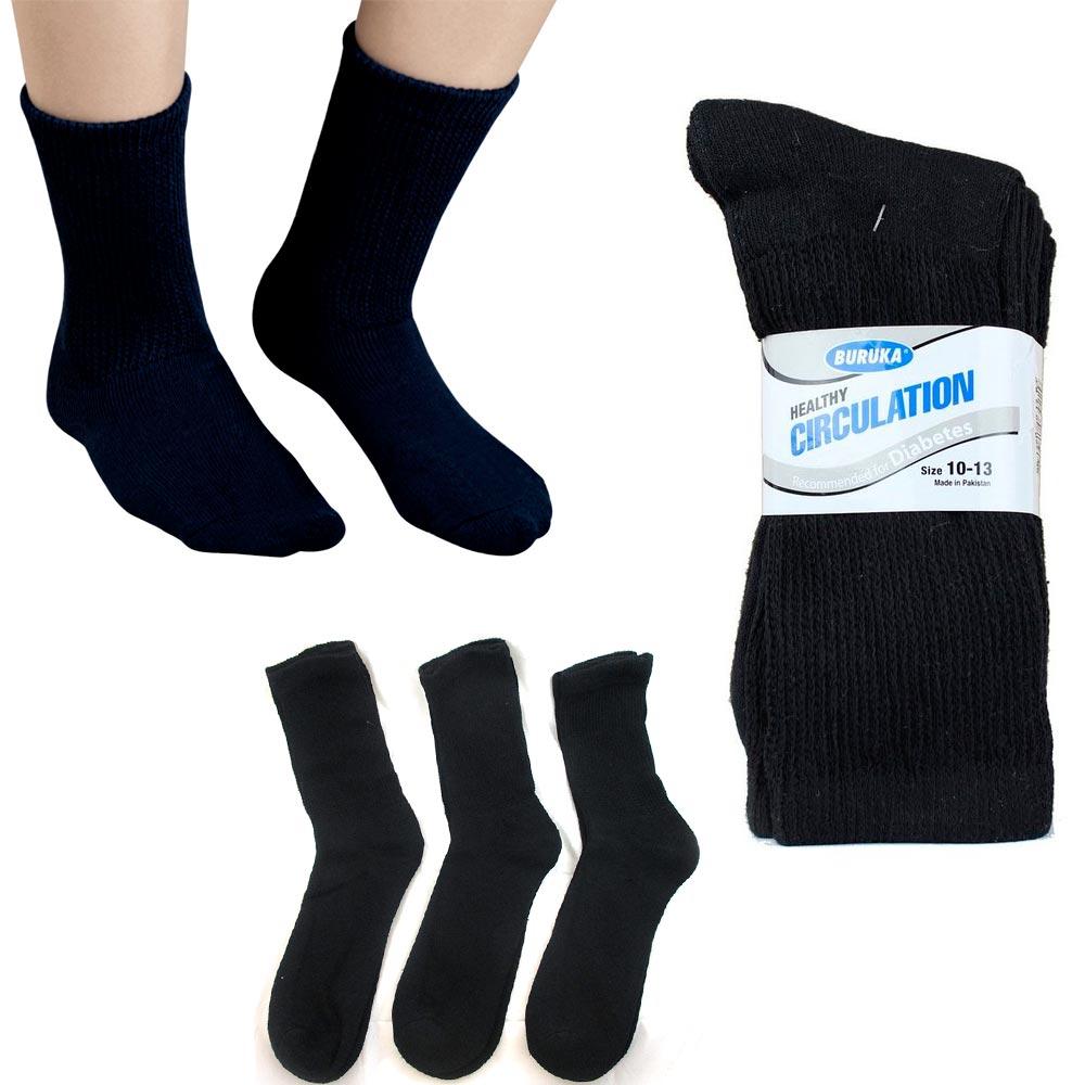 3 Pairs Diabetic Crew Circulation Socks Health Support Mens Loose Fit 10-13 Blck
