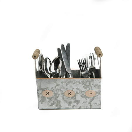 Mind Reader Galvanized Utensils Caddy Serve Ware Holder Basket Kitchen Condiment Organizer W Handle Forks Spoons Knives Dining Table