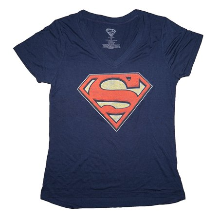 DC Comics Women's Superman Symbol V-Neck Shirts (XS) W51