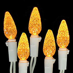 Set of 70 Amber LED C6 Christmas Lights - White Wire