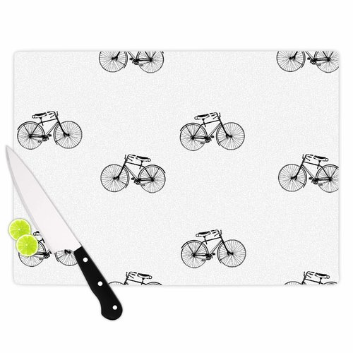East Urban Home Suzanne Carter Glass 'Vintage Wheels' Cutting Board