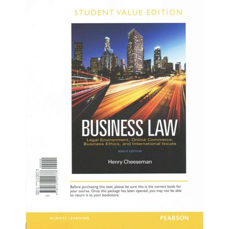 Business Law  Legal Environment  Online Commerce  Business Ethics  And International Issues
