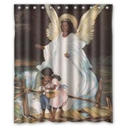 HelloDecor Guardian Angel With Children On Bridge African American Black Religious Shower Curtain Polyester Fabric Bathroom Decorative Curtain Size 60x72 Inches
