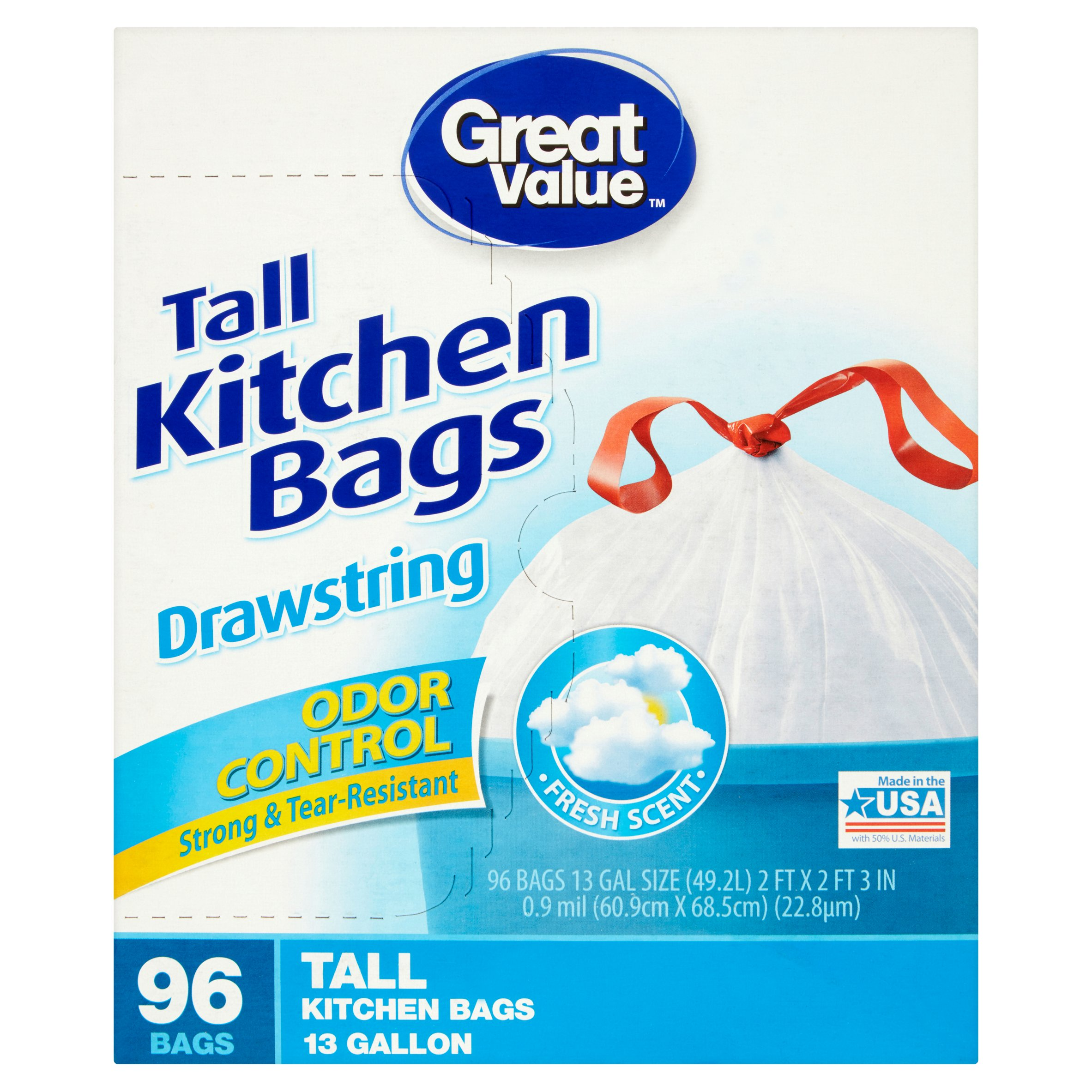 Great Value Fresh Odor Control Tall Kitchen Drawstring Trash Bags, 13 Gallon, 96 Ct