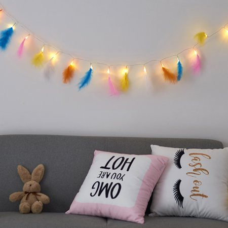 Romantic Feather String Light, 3.9FT 10LEDs Decorative Fairy Lamp, Battery Operated - image 3 of 7