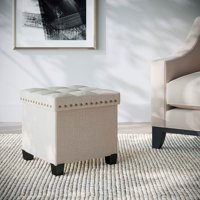 Nathan James Payton Foldable Cube Storage Ottoman Footrest and Seat with Beige Fabric