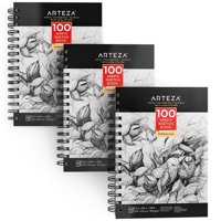 """ARTEZA 5.5X8.5"""" Sketch Book, Pack of 3, 300 Sheets (68 lb/100gsm), Spiral Bound Artist Sketch Pad, 100 Sheets Each, Durable Acid Free Drawing Paper, Ideal for Kids & Adults, Bright White"""