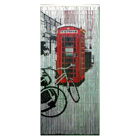 Bamboo54 Retro Red Phone Booth Bamboo Outdoor Curtain