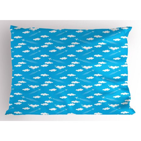 Nursery Airplane Pillow Sham Simple Clear Blue Sky With White Clouds Flying Planes And Traces