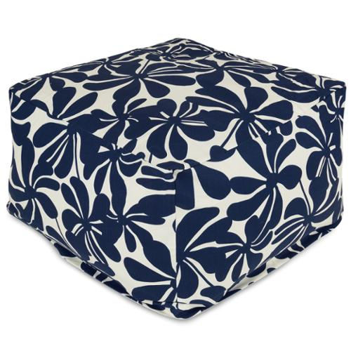 Majestic Home Goods Plantation Ottoman Outdoor Indoor Navy Blue Plantation Large Ottoman