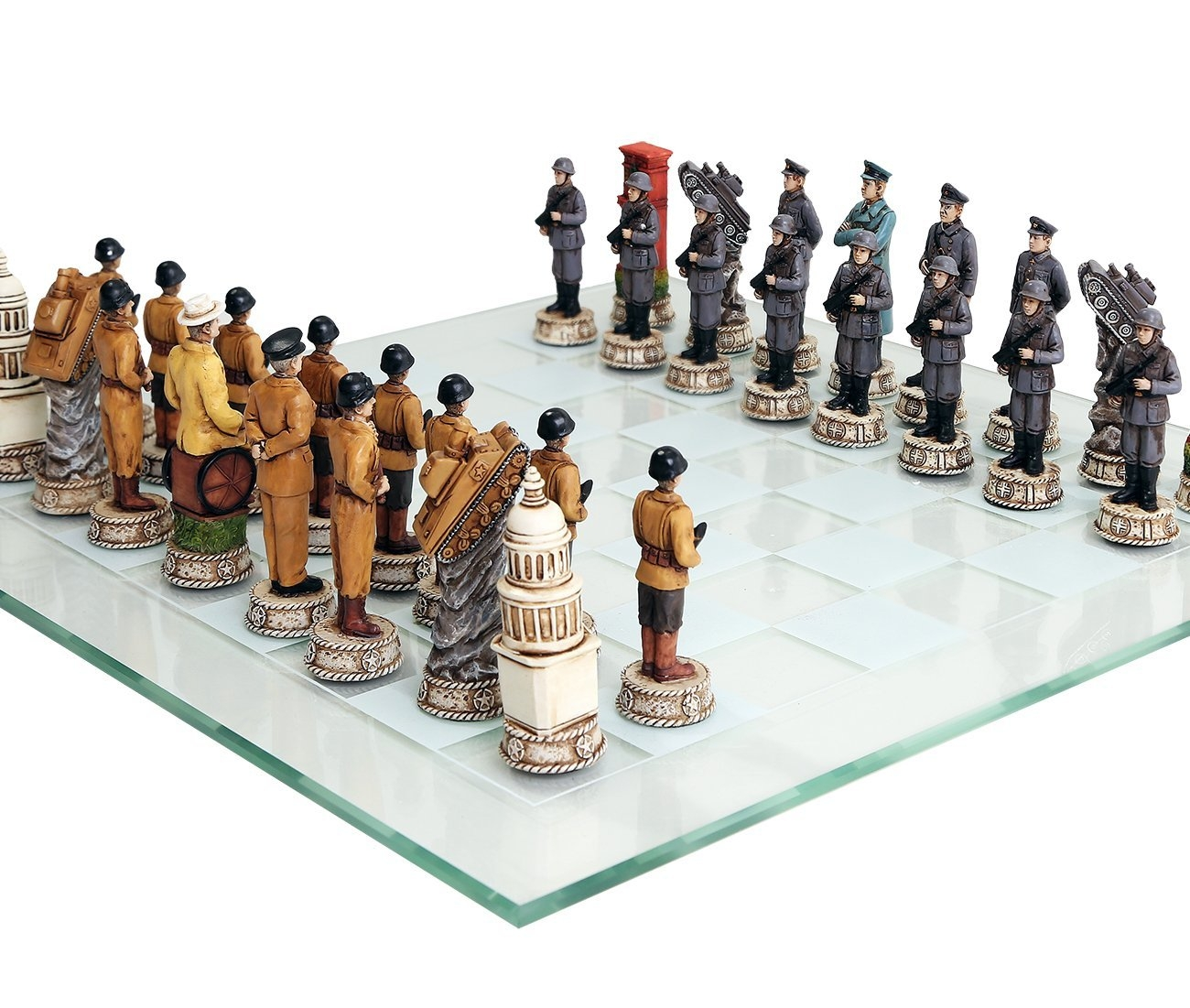 World War 2 Themed Chess Set US vs Germany Hand Painted with Glass Board by Pacific Trading