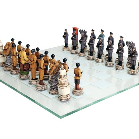 World War 2 Themed Chess Set US vs Germany Hand Painted with Glass -