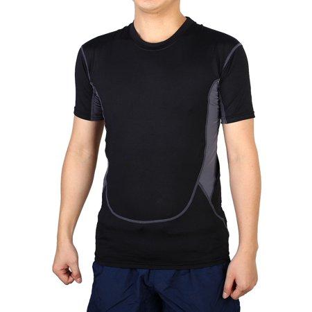 Men Breathable Short Sleeve Clothes Stretchy Golf Tennis Sports T-shirt Balck M