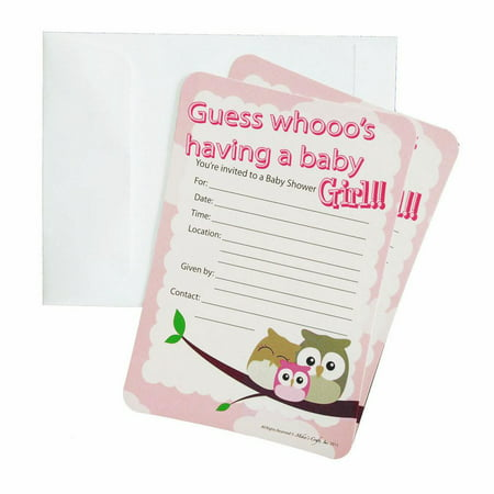 Baby Shower Invitations, 12-Piece, 7-Inches, Owl Baby Girl, Light Pink (Owls Baby Shower)