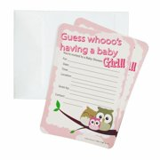 Baby shower invitations baby shower invitations 12 piece 7 inches owl baby girl filmwisefo Choice Image