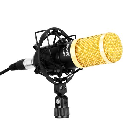Neewer NW-8000 Professional Studio Broadcasting Recording Microphone Set, Including: Professional Condenser Microphone, Microphone Shock Mount, Anti-wind Foam Cap, 3.5mm XLR Cable
