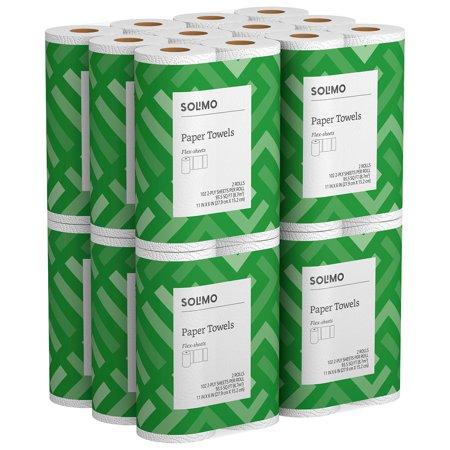Solimo Basic Flex-Sheets Paper Towels, 24 Value Rolls, White, 102 Sheets per (Best Value Paper Towels)