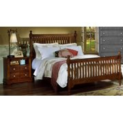 Slat Poster Bed w Nightstand in Cherry Finish (Full)