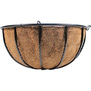 World Source Partners 507816 Wire Grow Basket With Coco Liner & 4 Wire Hanger, Green, 16 In.
