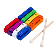 Dcenta Deluxe Colorful 8 Note Glockenspiel Resonator Bells Set Percussion Musical Educational Teaching Instrument Toy with 2 Mallets for Baby Kids Children