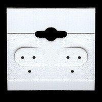 Earring Hang Cards White Flocked 1.5 X 1.5 Inches (100), Color: By Beadaholique