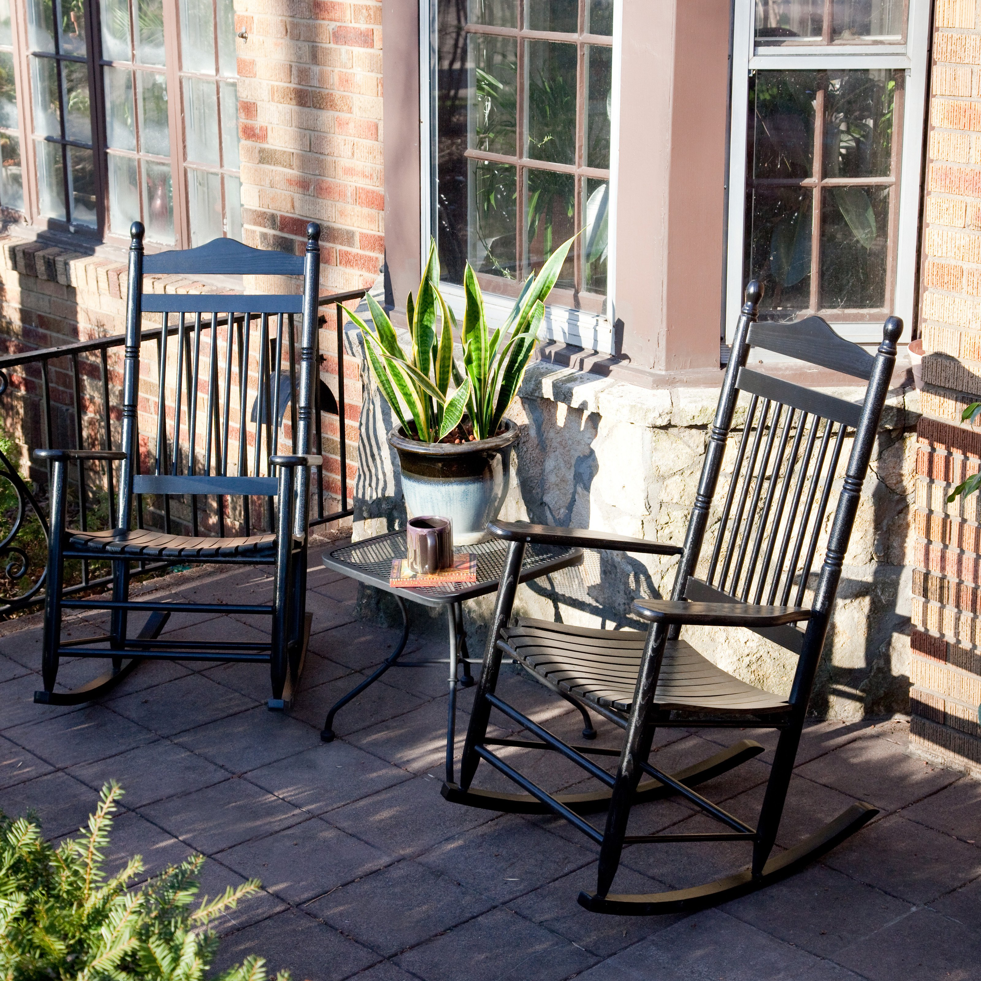 Dixie Seating Indoor/Outdoor Spindle Rocking Chairs   Black   Set Of 2