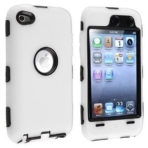Dual Flex Hard Hybrid Gel Case for Apple iPod Touch 4th Gen - White/Black