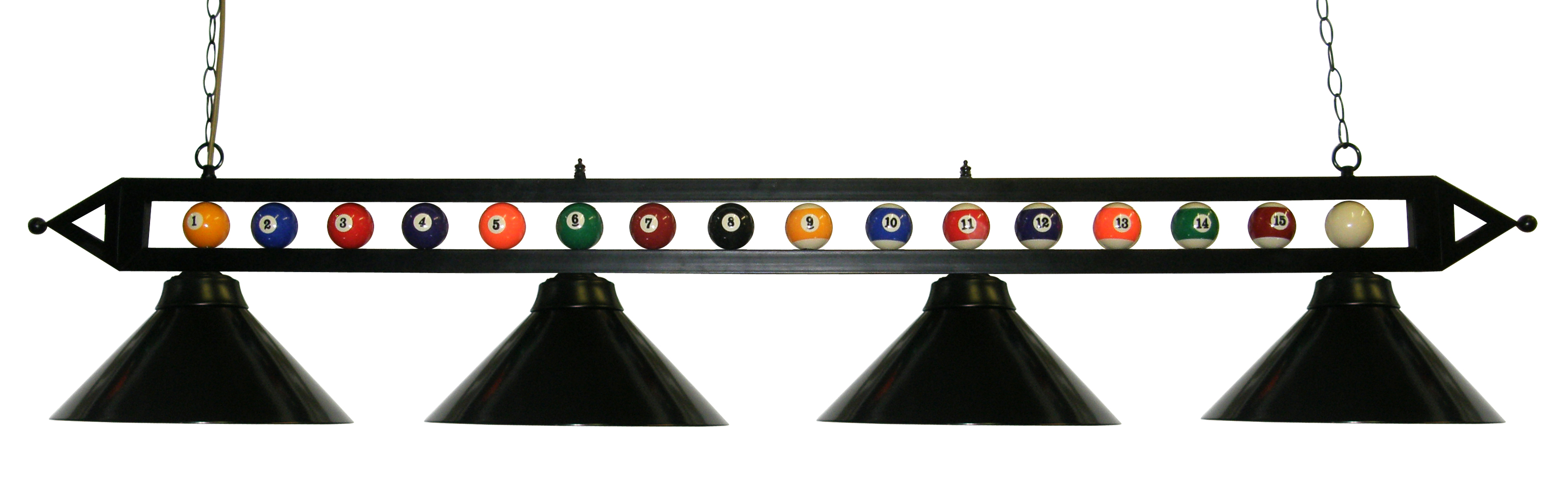 "72"" Black Metal Ball Design Pool Table Light Pool Table Light W Black Metal Shades by"