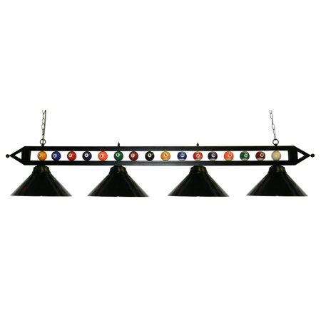 "72"" Black Metal Ball Design Pool Table Light Billiard lamp W Black Metal Shades"