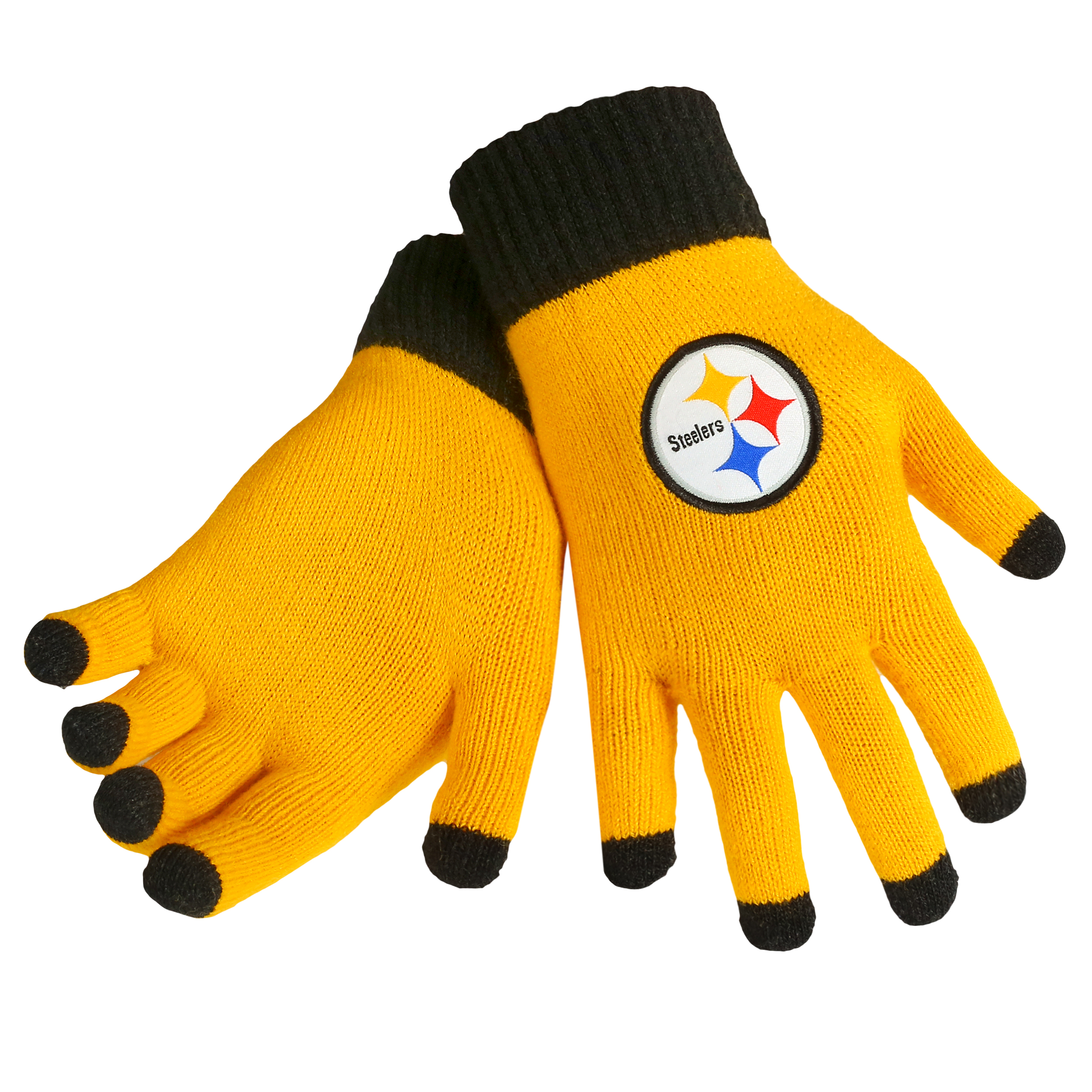 Pittsburgh Steelers Official NFL Glove Solid Outdoor Winter Stretch Knit by Forever Collectibles 240242 by Forever Collectibles